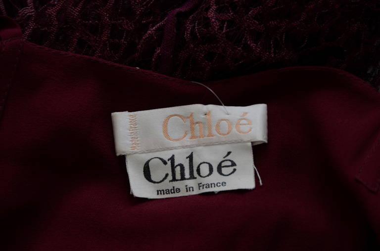 Karl Lagerfeld for Chloe Burgundy Lace Dress  Linda Evangelista Add 94'/95' For Sale 1