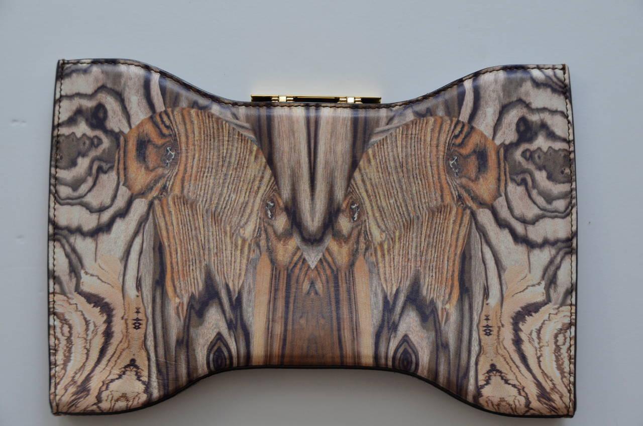 Rare Alexander McQueen Wood Grain Print  Leather Clutch 2009 2
