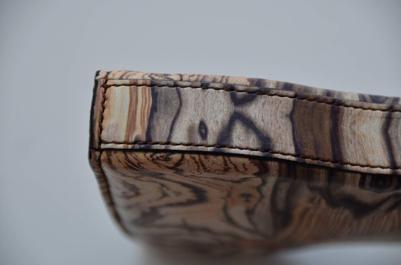 Rare Alexander McQueen Wood Grain Print  Leather Clutch 2009 4