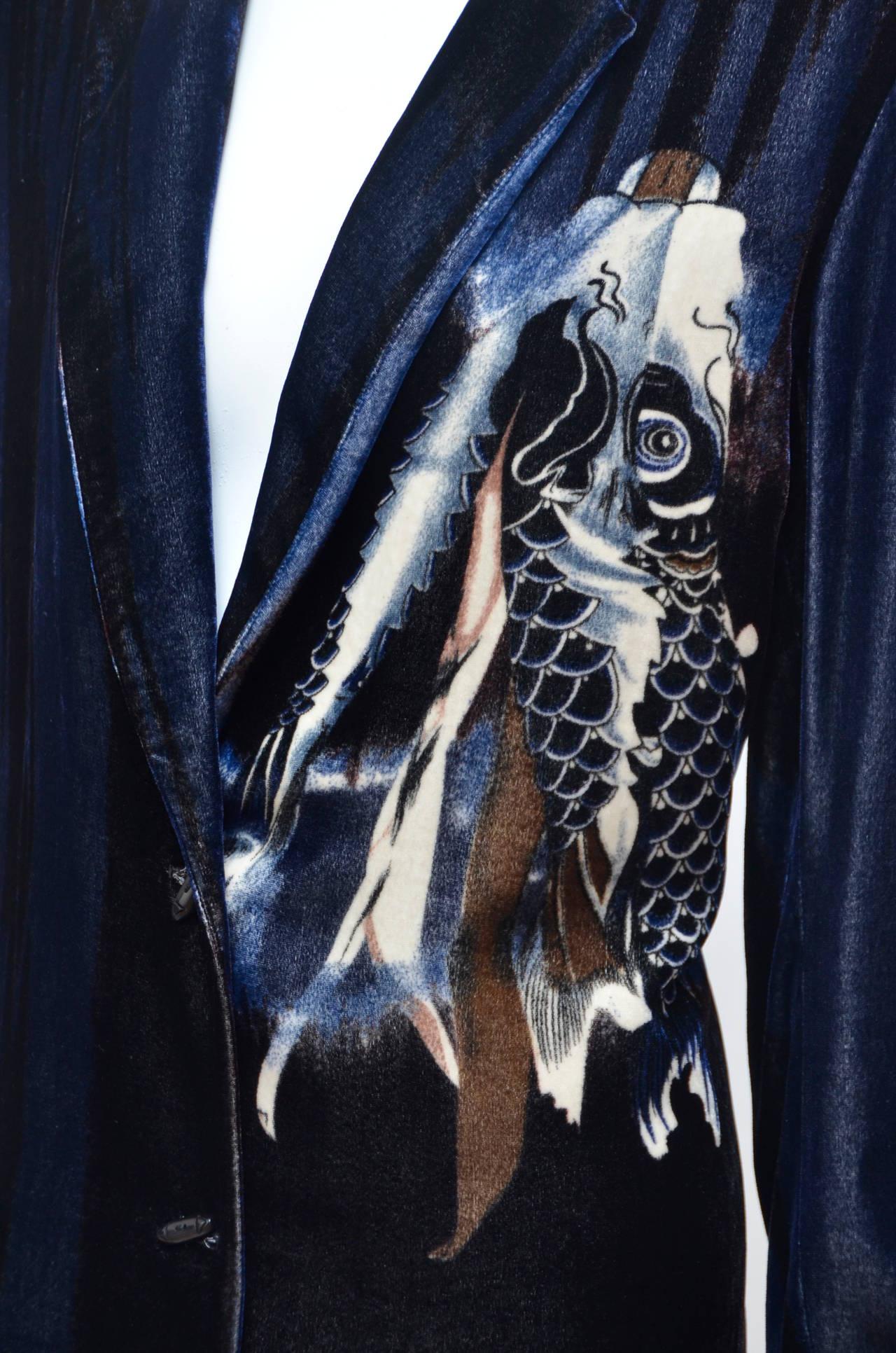 Harari koi fish velvet blazer jacket new at 1stdibs for Koi fish dress