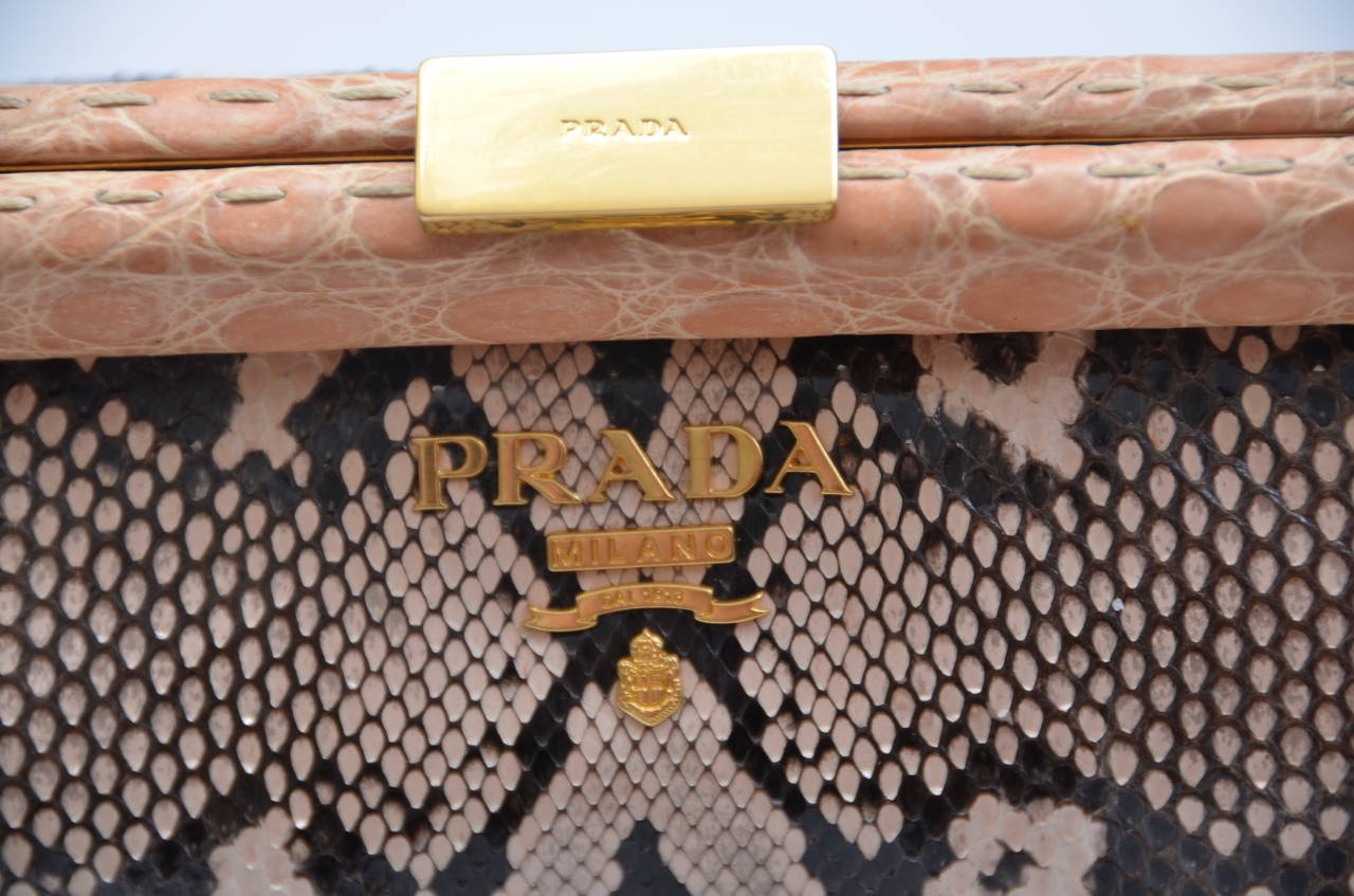 Prada  Nude/Brown Mix Color  Python Clutch With Croc Trim New 3