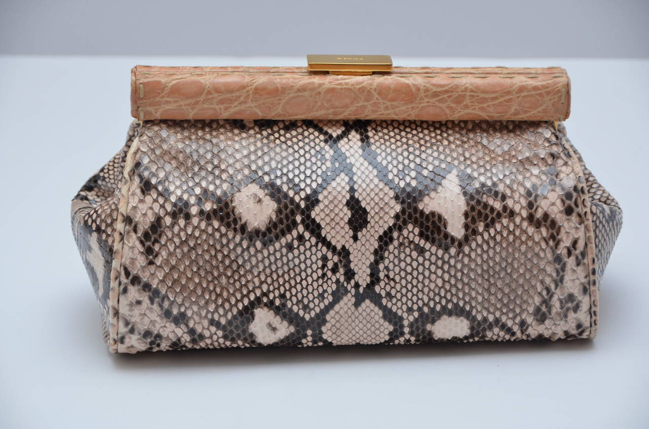 Prada Nude/Brown Mix Color Python Clutch With Croc Trim New at 1stdibs