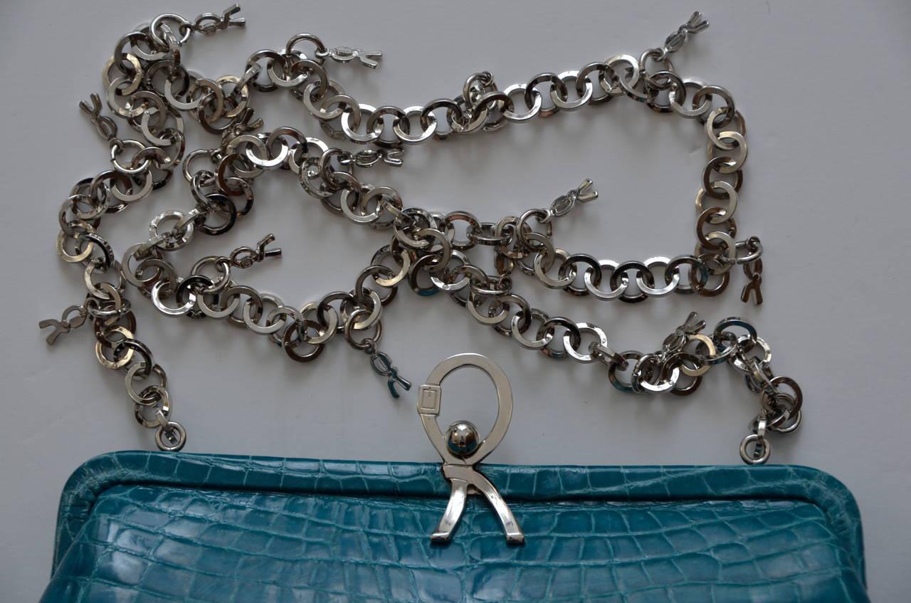 ROBERTA DI CAMERINO Crocodile Clutch Handbag Mint 5