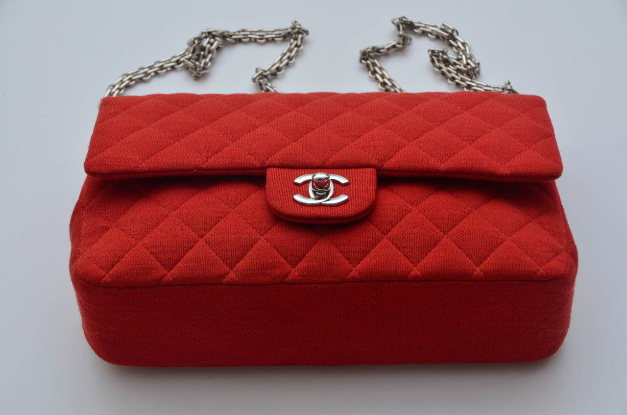 Chanel Red Lipstick Jersey Double Flap Handbag Mint At 1stdibs