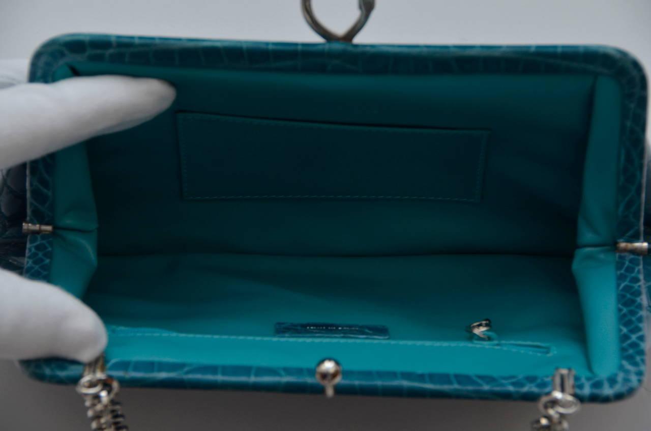 ROBERTA DI CAMERINO Crocodile Clutch Handbag Mint 7