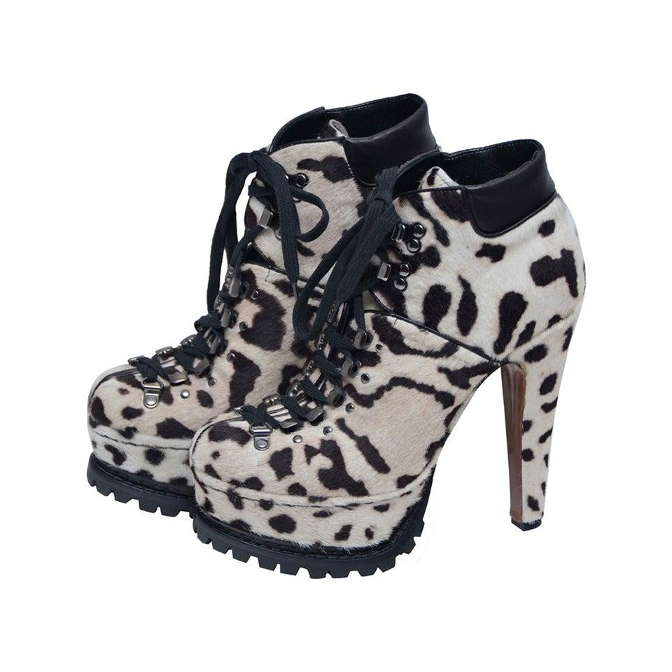 Alaia Snow Leopard Pony Hair Platform Hiking Boots 38 New