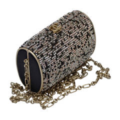 CHANEL Clutch Handbag Evening With Swarovski  Black Gold Brown Crystals Mint