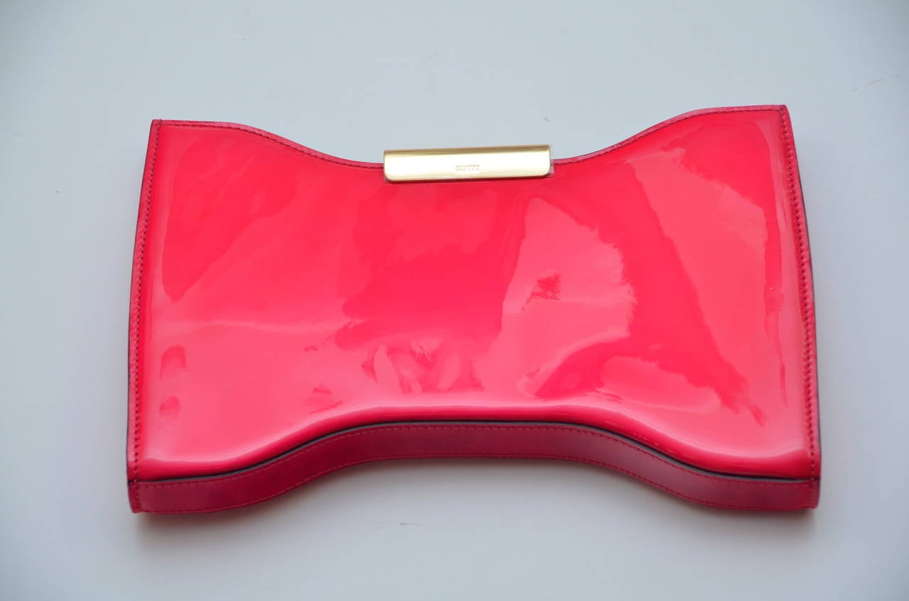 Alexander McQueen HOT PINK Patent Leather Clutch Handbag 2
