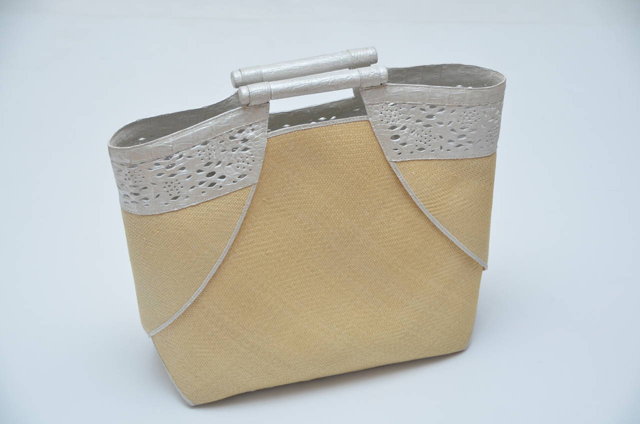 Nancy Gonzales Raffia  Cruise Tote Handbag Pearl Crocodile Trim NEW 2