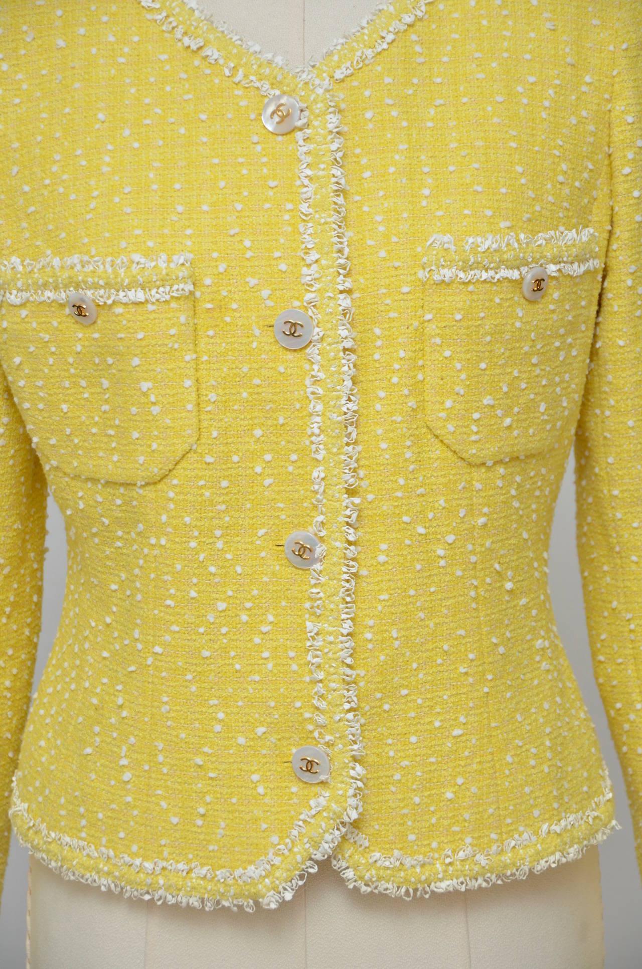 Vintage Chanel Yellow Boucle Tweed Jacket 1997 Mint Size