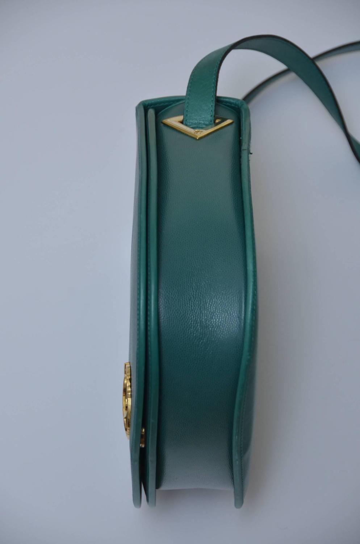 vintage karl lagerfeld leather green handbag for sale at 1stdibs. Black Bedroom Furniture Sets. Home Design Ideas