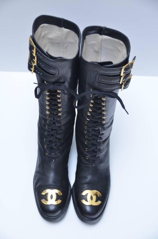 Iconic Chanel Vintage Combat Leather Boots Imposible To