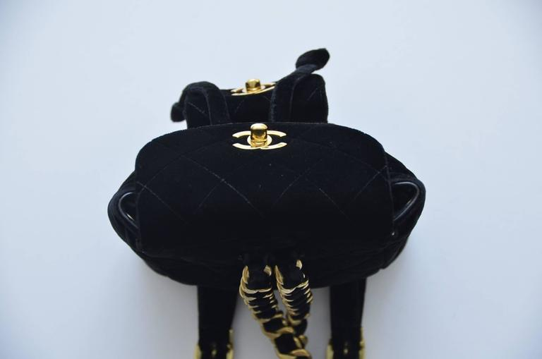 CHANEL Super Rare  Mini Velvet Backpack 1990's MINT  In Excellent Condition For Sale In Hollywood, FL