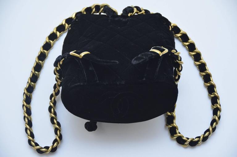 Women's CHANEL Super Rare  Mini Velvet Backpack 1990's MINT  For Sale