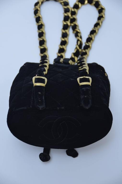 CHANEL Super Rare  Mini Velvet Backpack 1990's MINT  For Sale 5