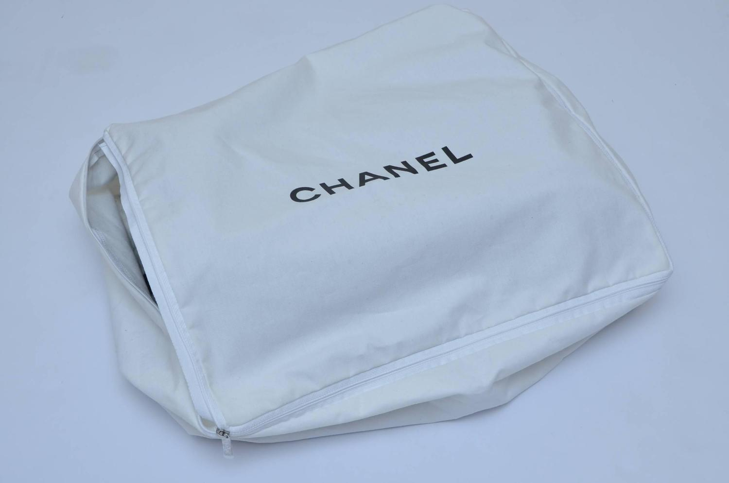 CHANEL Black and Grey With Large CC Logo Travel Home Decor Throw Blanket NEW at 1stdibs