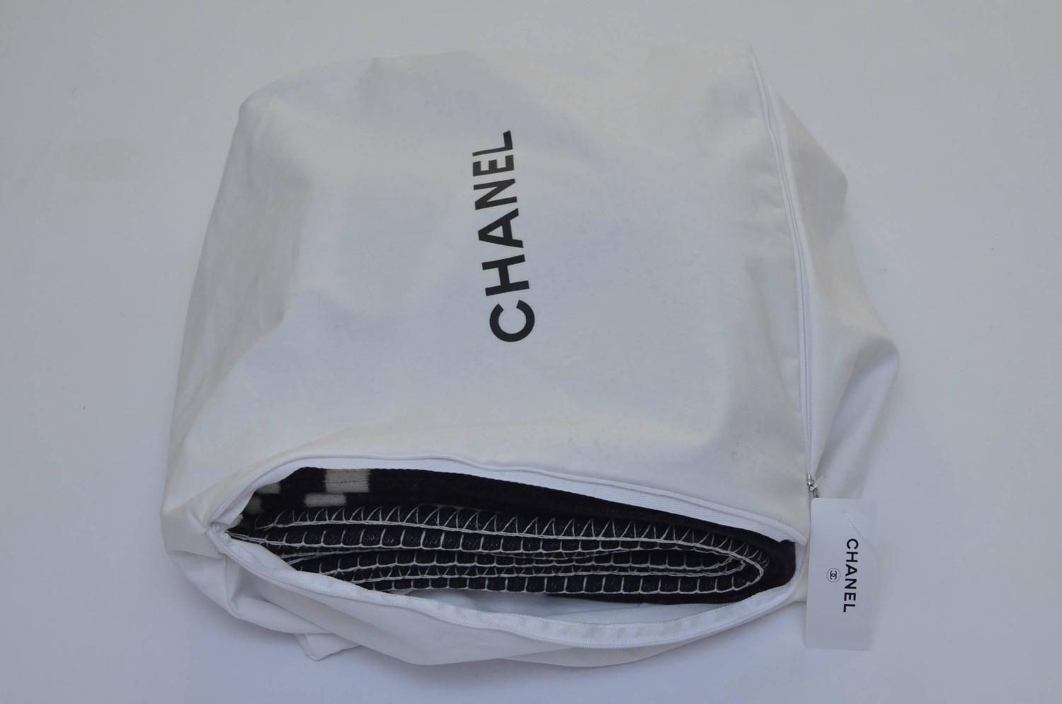 CHANEL Black and Off White Large CC Logo Travel Home Decor Throw Blanket NEW For Sale at 1stdibs