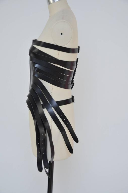 Ann Demeulemeester  Leather Corset 14  Buckle Belt Mint Size S In New never worn Condition For Sale In Hollywood, FL