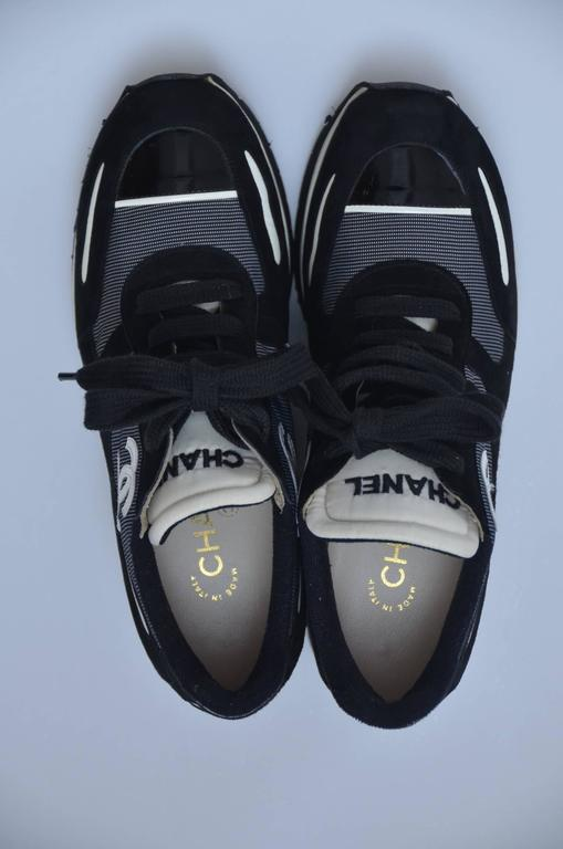 CHANEL  1997 Platform Black/White Shoes Sneakers New 38.5 2