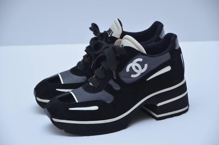 CHANEL  1997 Platform Black/White Shoes Sneakers New 38.5 In New Never_worn Condition For Sale In Hollywood, FL