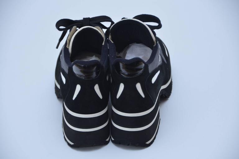 CHANEL  1997 Platform Black/White Shoes Sneakers New 38.5 4