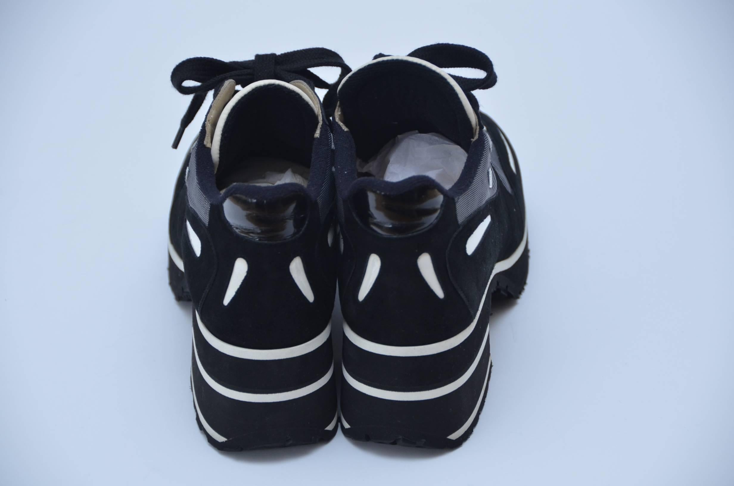 1d02608add5b CHANEL 1997 Platform Black White Shoes Sneakers New 38.5 at 1stdibs