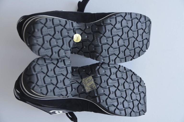 CHANEL  1997 Platform Black/White Shoes Sneakers New 38.5 For Sale 1