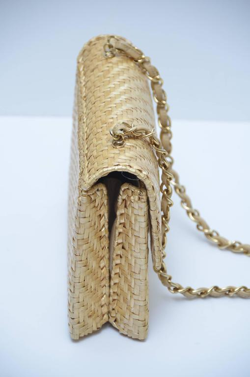 Women's or Men's CHANEL Natural Straw Flap Handbag NEW For Sale