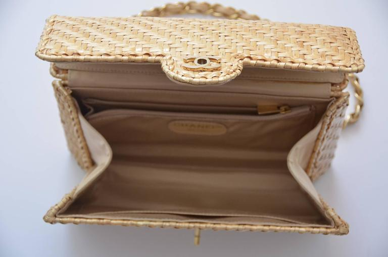 CHANEL Natural Straw Flap Handbag NEW 6