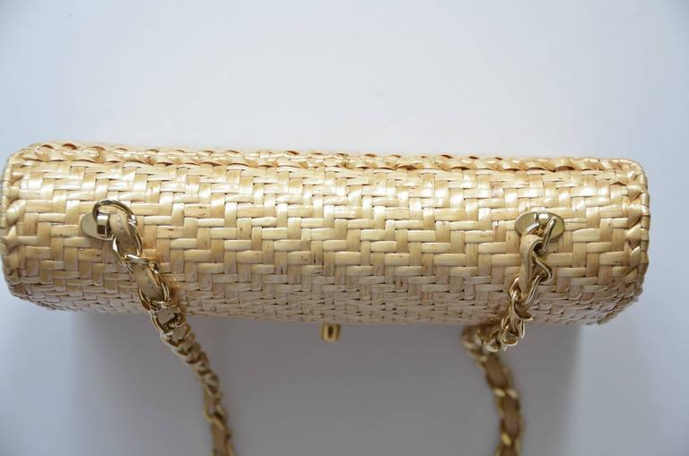 CHANEL Natural Straw Flap Handbag NEW For Sale 5