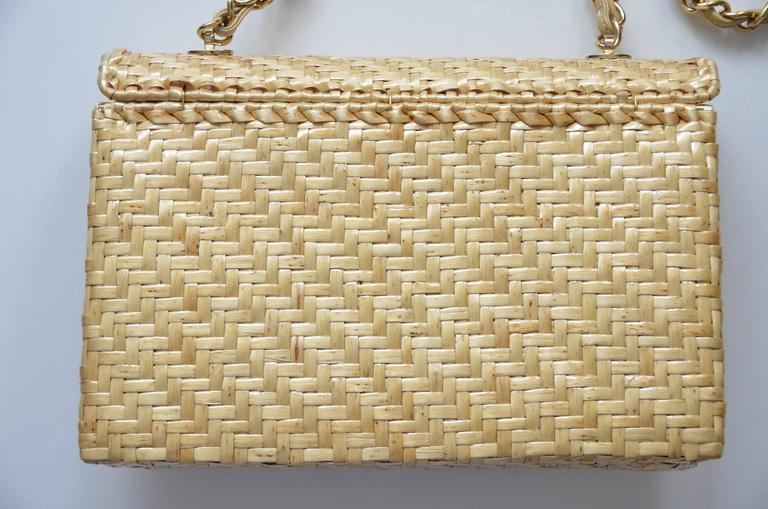 CHANEL Natural Straw Flap Handbag NEW For Sale 3