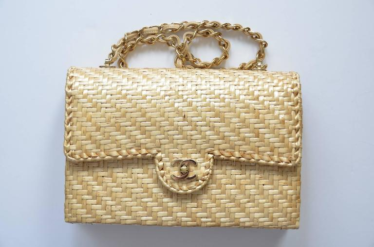 CHANEL Natural Straw Flap Handbag NEW 2