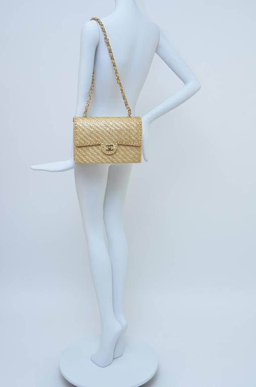 CHANEL Natural Straw Flap Handbag NEW For Sale 6