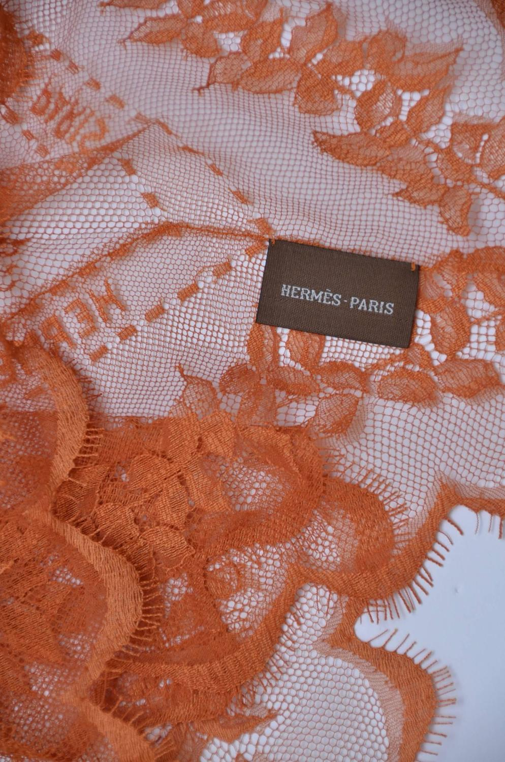 Amazing Rare Hermes Lace Scarf With Hermes Paris