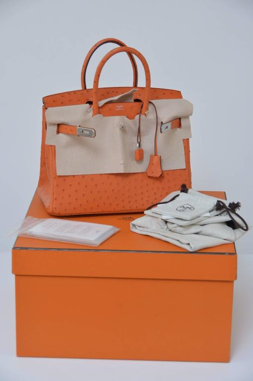 fe3e13e3a0c4 Hermes Tangerine 30cm in Ostrich with palladium hardware. Tonal stitching