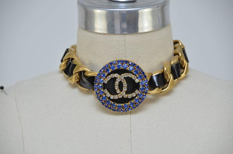 Chanel Massive Cc Choker Necklace With Rhinestones Rare 90s