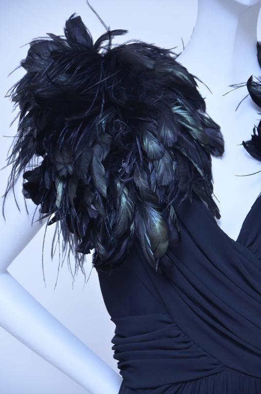 "Lilli Diamond ""Old Hollywood Glamour""  Feather's Black Dress  1960's 3"