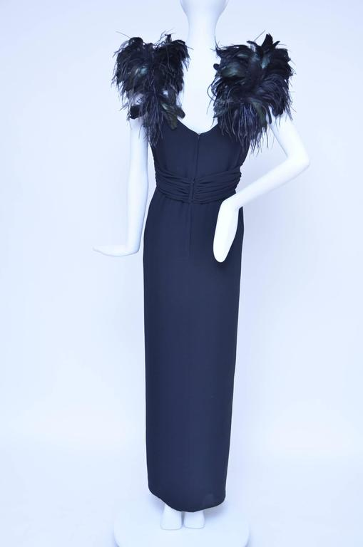 "Lilli Diamond ""Old Hollywood Glamour""  Feather's Black Dress  1960's 4"