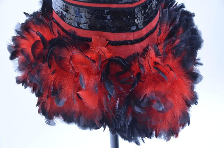 Michaele  Vollbracht Feathers And Sequins Dress, 1980s  For Sale 2