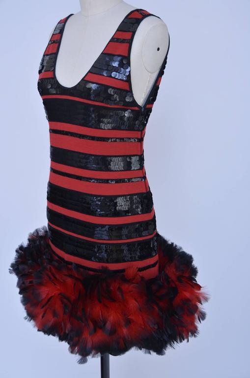 Michaele  Vollbracht Feathers And Sequins Dress, 1980s  In New Condition For Sale In Hollywood, FL