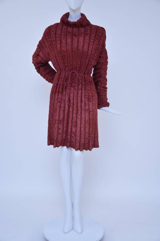 Azzedine Alaia vintage chenille fabric dress.