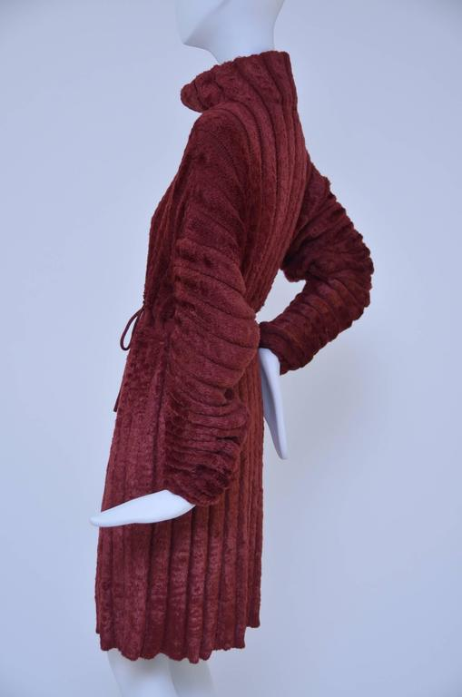 Azzedine Alaia  Vintage Chenille Burgundy Dress  S In Excellent Condition In Hollywood, FL