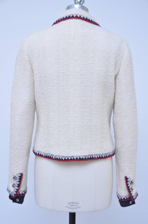 Iconic Chanel Ecru Color Boucle Jacket 06 New 40 At 1stdibs