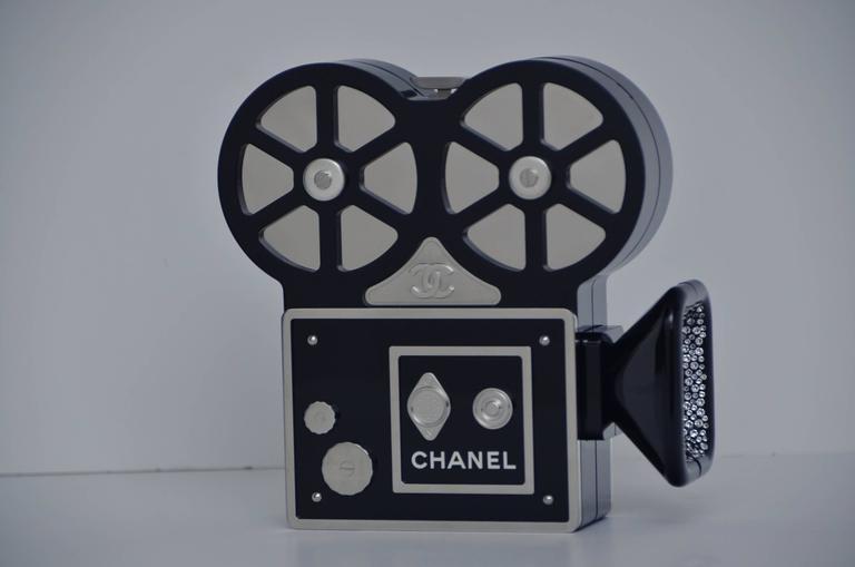 Black CHANEL Rome 2016 Movie Camera Minaudière Handbag Limited Edition  NEW For Sale