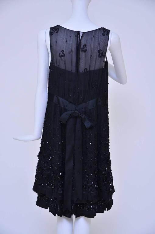 Beautiful Chanel Haute Couture black silk embellished/beaded dress.