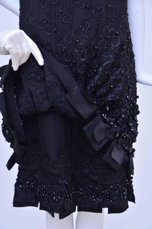 CHANEL Haute Couture Black Silk Embellished  Dress With Bow  Beautiful..... In Excellent Condition For Sale In Hollywood, FL