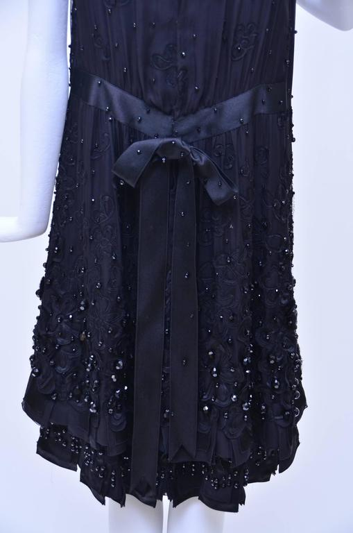 CHANEL Haute Couture Black Silk Embellished  Dress With Bow  Beautiful..... 4