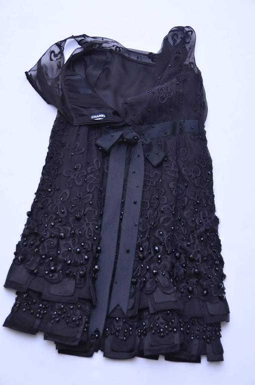 CHANEL Haute Couture Black Silk Embellished  Dress With Bow  Beautiful..... 9