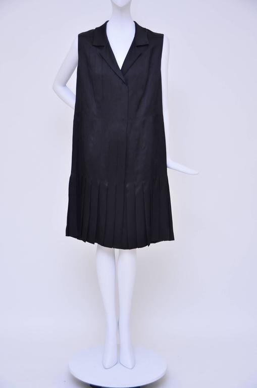 CHANEL Haute Couture Black Silk Pleated  Dress   Mint 3