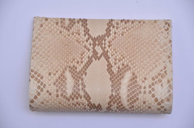 Paige Gamble Beige Snake Skin  Clutch Evening Handbag 2